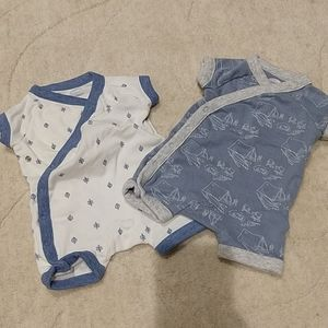 Old Navy set of Newborn blue white outfits